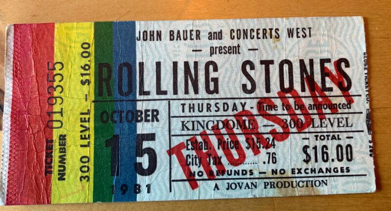 1981 ROLLING STONES Kingdome Seattle WA Box Office Concert TICKET STUB 10/15/81
