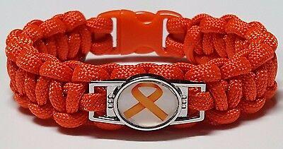 Multiple Sclerosis  Leukemia Awareness Orange Ribbon   Orange Paracord Bracelet