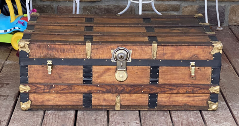 Trunks-N-Treasures Beautiful  Refinished Flat Top Trunk Antique Chest