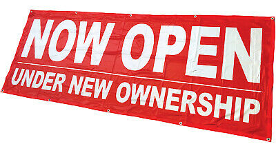 Now Open Under New Ownership Banner Sign Vinyl Alternative 3x8 Rb Fabric