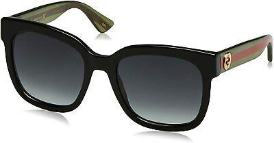 GUCCI Rectangular Square Urban GG0034/S 002 Black/ Green Unisex Sunglasses 54mm