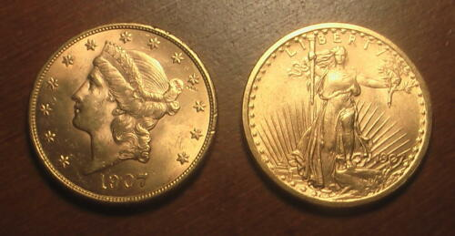 Beautiful Pare: $20 Gold Coins 1907 Saint Gaudens and Liberty Double Eagle BU!