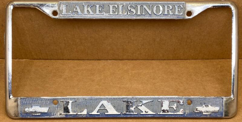 RARE CHEVROLET LAKE ( LAKE ELSINORE CA.) CAR DEALER-LICENSE PLATE FRAME-VINTAGE
