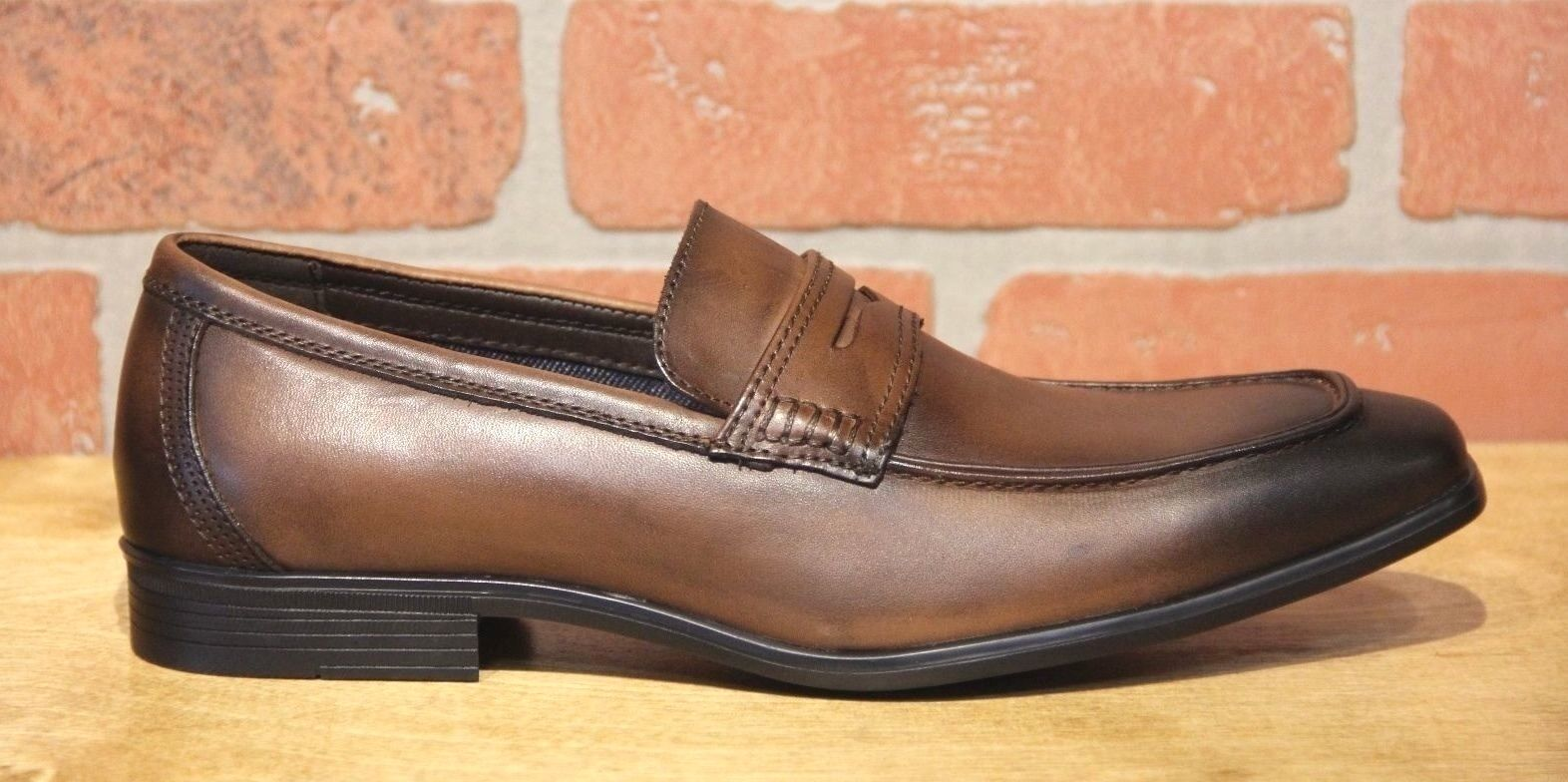 La Milano Men's Brown Leather SLip On Dress Shoes A11233 1