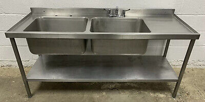 STAINLESS STEEL DOUBLE BOWL SINK WITH RIGHTHAND DRAINER 1800 MM WIDE £300 + VAT
