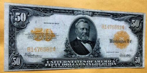1922 $50 Gold Certificate Note VF Large FR 1200 Rare