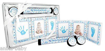 Neu Baby Jungen Geschenk Taufe Andenken Handabdruck Fußabdrücke Set Blau