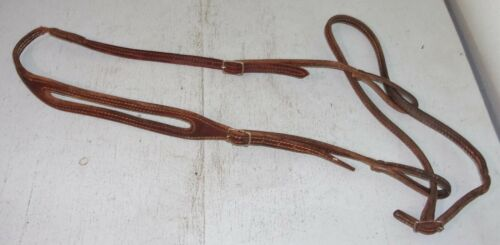 Double Stitched Leather Western One Split Ear Bridle Headstall w/ Nose Band