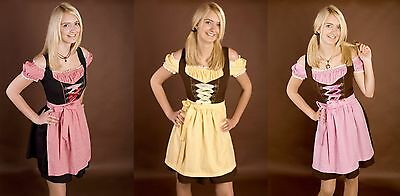 2tg DIRNDL knielang rosa pink rot gelb Kleid - Dirndl Kleid Kostüm