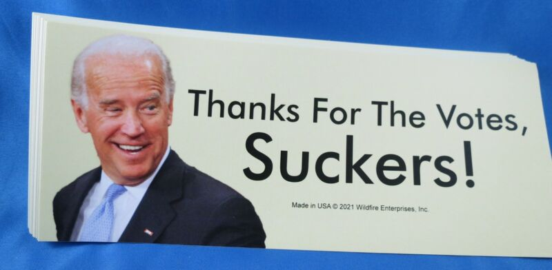 WHOLESALE LOT OF 20 ANTI BIDEN THANKS FOR THE VOTES SUCKERS STICKERS Trump 2024