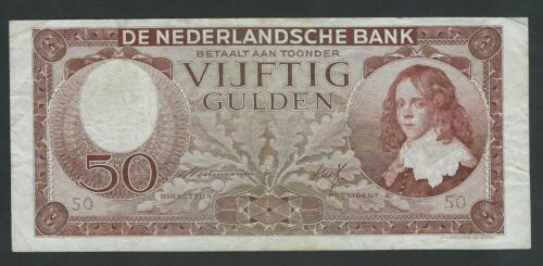 NETHERLANDS RARE  50   GULDEN 1945   P- 78  VF