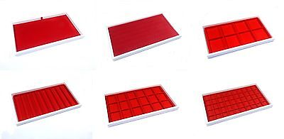 6 Assorted White Stackable Jewelry Display Storage Parts Trays With Red Liners