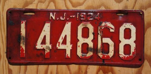 1924 Red New Jersey License Plate