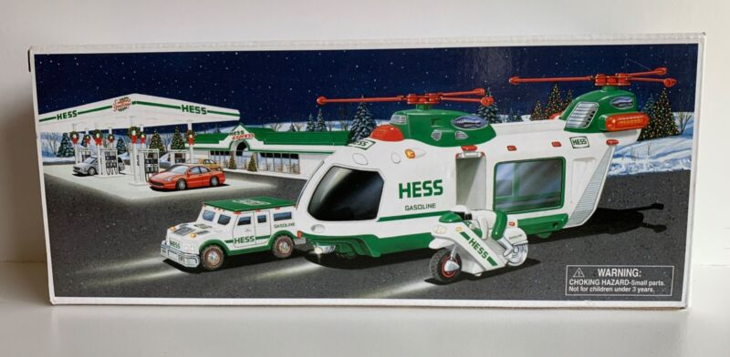2001 HESS TOY TRUCK HELICOPTER WITH MOTORCYCLE AND CRUISER - New, unopened box
