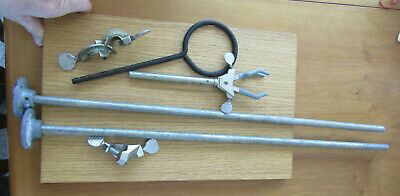 1 Wood Base 2 Rods 1 Cast Iron Ring Wclamp 1 Fisher Clamp Lab Stand Kit