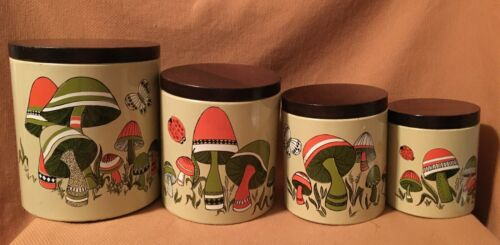 Vintage Ransburg Mushroom Tin Canisters/Containers with Wooden Lids Set of 4