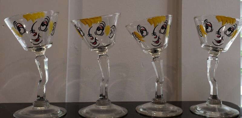 """Vintage Set of 4 Gay Fad Hand-Painted Bent """"Tipsy"""" Martini Glasses"""