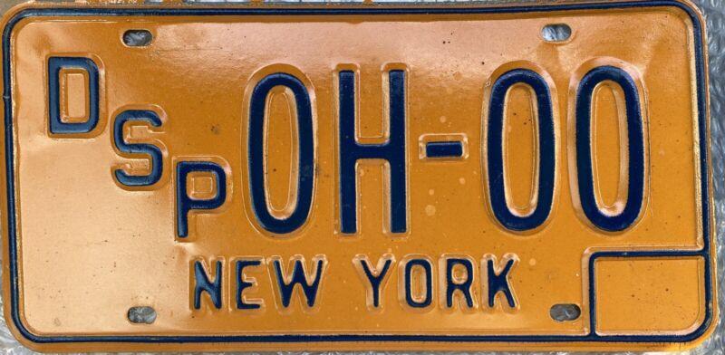 Vintage 1970 's New York STATE POLICE Sample License Plate VERY RARE!!