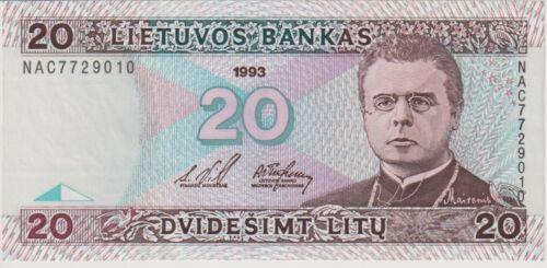 Lithuania 20 Litu dated 1993 Pick57a Uncirculated UNC