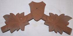 Vintage Wood Leaves Hunters Cuckoo Clock Parts Top Topper Trim 9 5/8 #14g