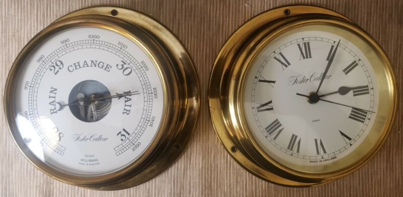 Foster Callear Marine Ships barometer and clock Bulkhead Nautical Brass