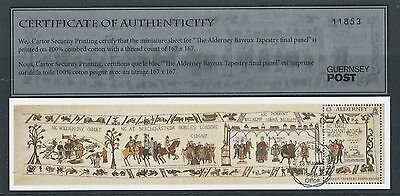 ALDERNEY 2014 BAYEAUX TAPESTRY MINIATURE SHEET  FINE USED