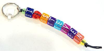 I Heart Steven Colorful Charm Bead Key Ring Fob Chain Sparkle Beads Blocks (Beaded Keychains)