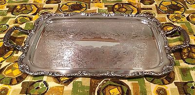 Vintage William A. Rogers Silver-Plate Rectangle Serving Tray/Handles
