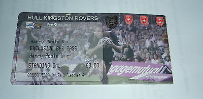 HULL K R 2009 SEASON EXCLUSIVE PASS FOR HARRY POOLE BAR