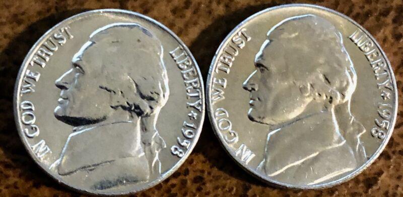 1958 P & D Jefferson Nickels BU, Uncirculated