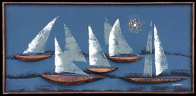 Vintage Framed Painting 5 Sailboats on Water Real Wood 3D Boats on Canvas 1950s