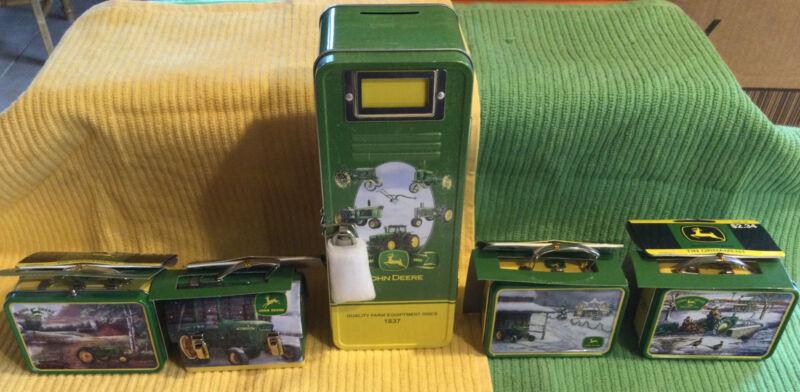 2006 John Deere Tin Ornament 4 Pc Set + Locker Coin Bank Lunch Box Tractors