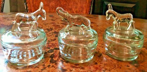 Vintage Jeanette 1940s Elephant & 2 Donkey Powder Dresser Jars - Clear Glass (3)