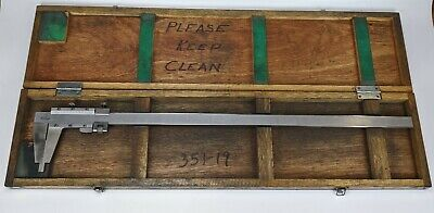 Mitutoyo No. 160-102 Vernier Caliper 24 W Wood Case - Fine Adjust Stainless