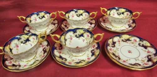 Coalport England Hand Painted Scalloped #6842 Cream Soup & Saucers - MINT