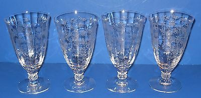 "Fostoria Crystal - Chintz Pattern - 6"" ICED TEA Glasses - Set of 4"