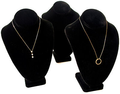 3 Black Velvet Jewelry Display Necklace Busts 7 12