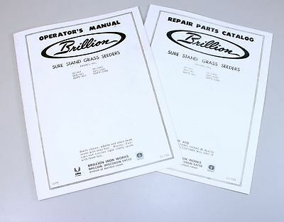 Brillion Sure Stand Seeder Parts Operators 2 Manuals Rates Planter Drill