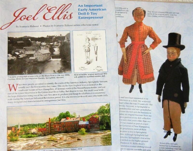 7p Rare History Article + Pics  Antique Joel Ellis Springfield VT Wooden Dolls
