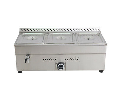 3-pan Propane Gas Bain-marie Buffet Food Warmer Steam Table 34