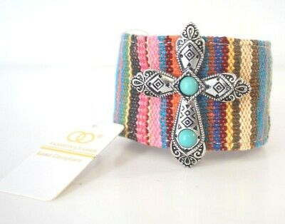 "Multi-color Woven Fabric 1 3/4"" wide Cross Turquoise Cuff snap Bracelet for sale  Shipping to Canada"