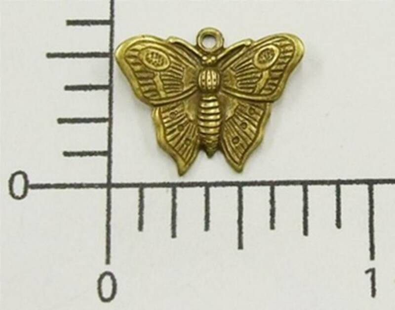 35063           2 Pc Brass Oxidized Victorian Butterfly Charm Jewelry Finding