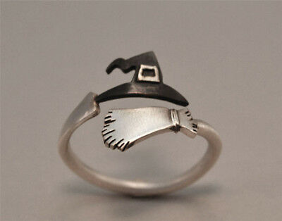 Cute Halloween Ghost Witch Broom Finger Ring Open Rings Party Cosplay  Jewelry (Witches Ring)