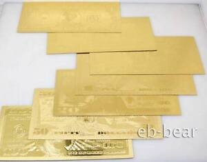 Lots-7-Pcs-U-S-dollar-Gold-Banknote-Notes-Full-Set-Unusual-Beautifully-Crafts