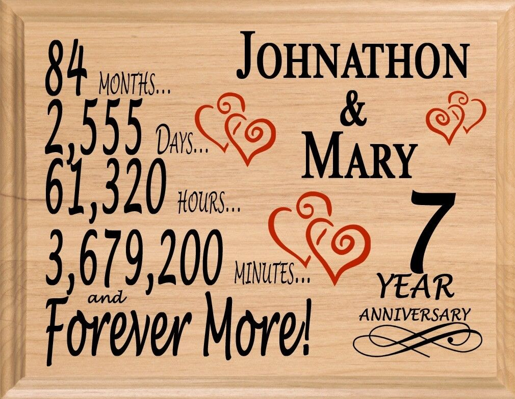 7 Year Anniversary Gift Personalized Super Fast 7th Year For Her Him