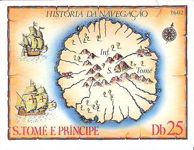St Thomas & Prince Is. 1979 History of Navigation Souvenir Sheet MNH (SC# 540)