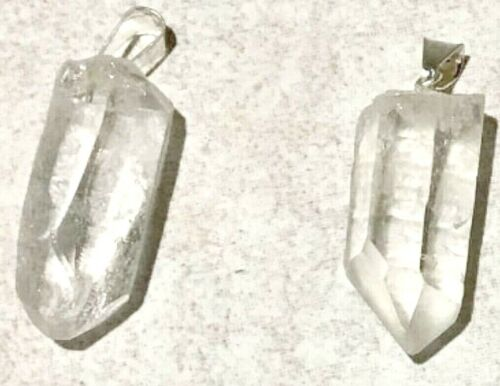 Clear Rough Quartz Point Pendants 25 Pc Lot for Crafts and Jewelry Making