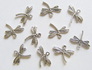 15 Metal Antique Silver Colour Dragonfly Charms - 17mm