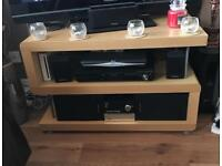 Beech TV stand, side table, drawers.