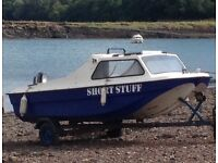 14ft CQR FISHING BOAT, TRAILER AND 15hp engine